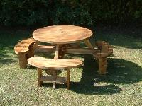 Treated Round picnic table walnut finnish